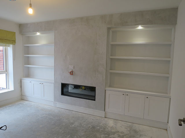 Alcove-shelving-and-cabinets with lights