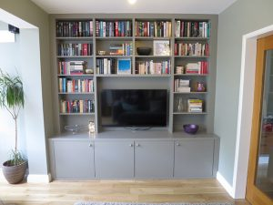 Built-in Bookcase with books and Media Unit with TV