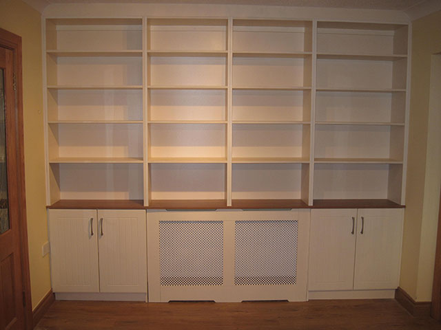 Radiator Cover built-in to shelving and cabinet unit