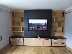 Media Unit with TV, cabinets and display unit