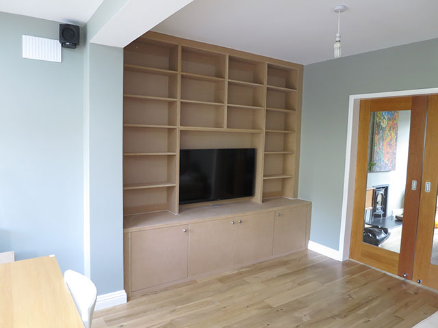 Bookcase and media unit in progress before being painted grey