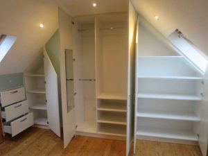 interior of attic room wardrobe