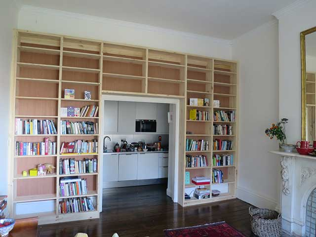 Bookcase around doorway