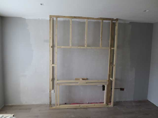 Frame for chimney breast construction