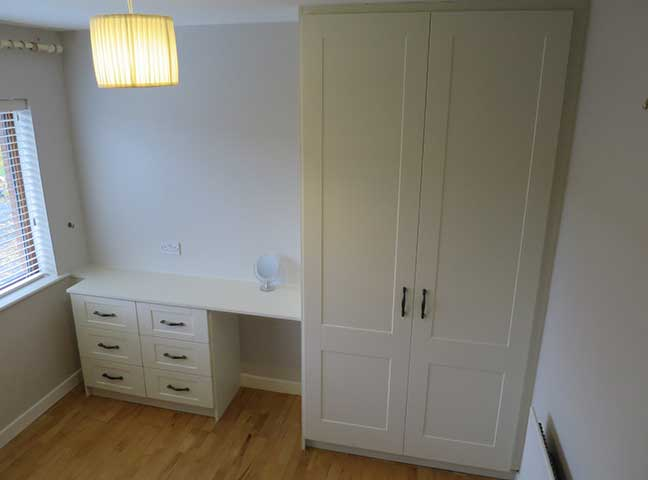 Ivory door wardrobe and desk
